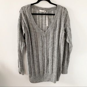ASOS Gray Long Sleeve Deep V Knit Sweater NWT